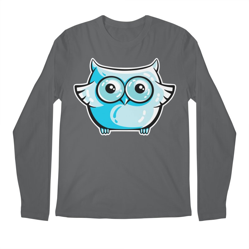 Blue Cute Owl Men's Regular Longsleeve T-Shirt by Flaming Imp's Artist Shop
