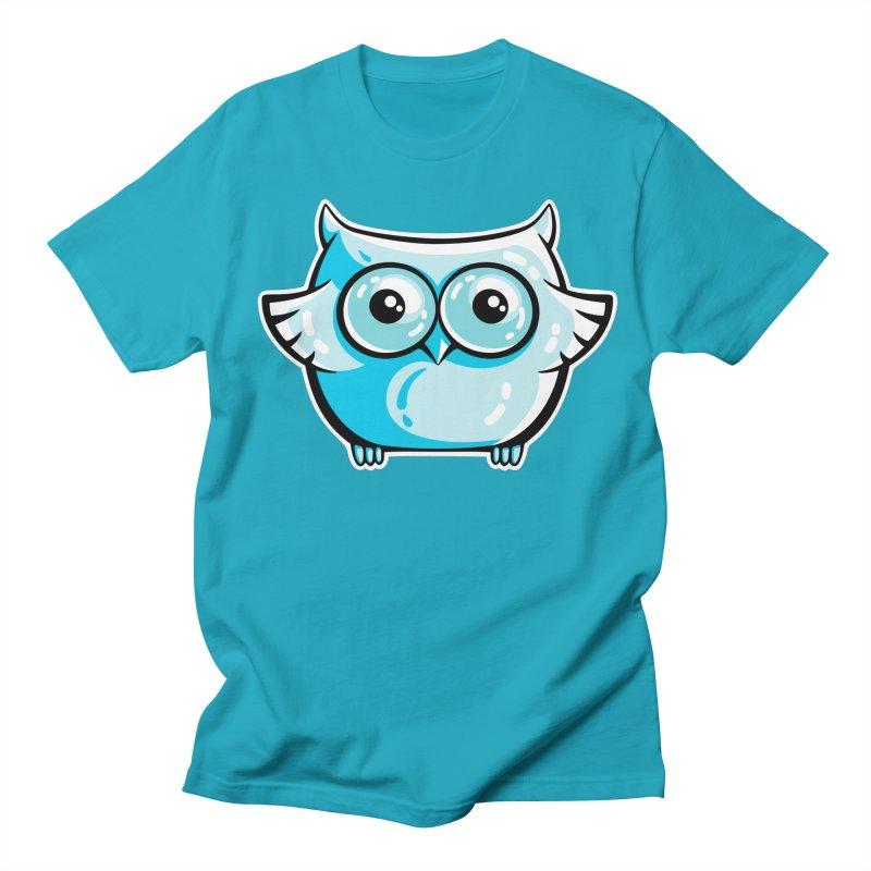 Blue Cute Owl Women's Regular Unisex T-Shirt by Flaming Imp's Artist Shop