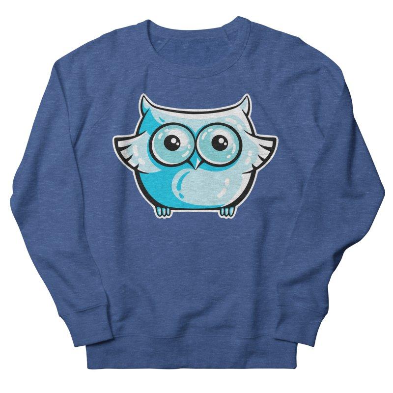 Blue Cute Owl Women's French Terry Sweatshirt by Flaming Imp's Artist Shop