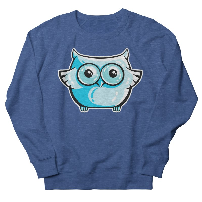 Blue Cute Owl Men's French Terry Sweatshirt by Flaming Imp's Artist Shop
