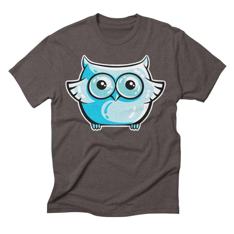 Blue Cute Owl Men's Triblend T-Shirt by Flaming Imp's Artist Shop