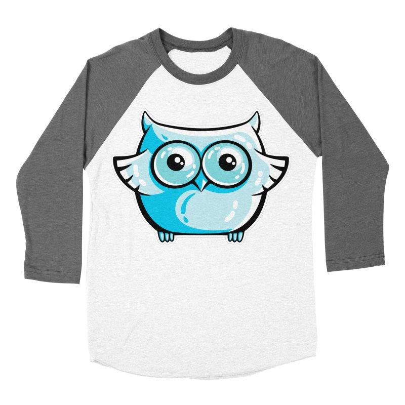 Blue Cute Owl Women's Baseball Triblend Longsleeve T-Shirt by Flaming Imp's Artist Shop