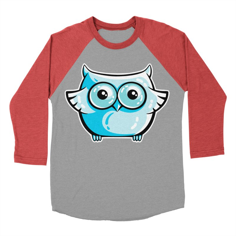 Blue Cute Owl Men's Baseball Triblend Longsleeve T-Shirt by Flaming Imp's Artist Shop