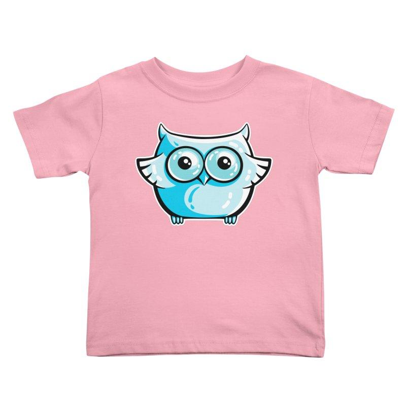 Blue Cute Owl Kids Toddler T-Shirt by Flaming Imp's Artist Shop