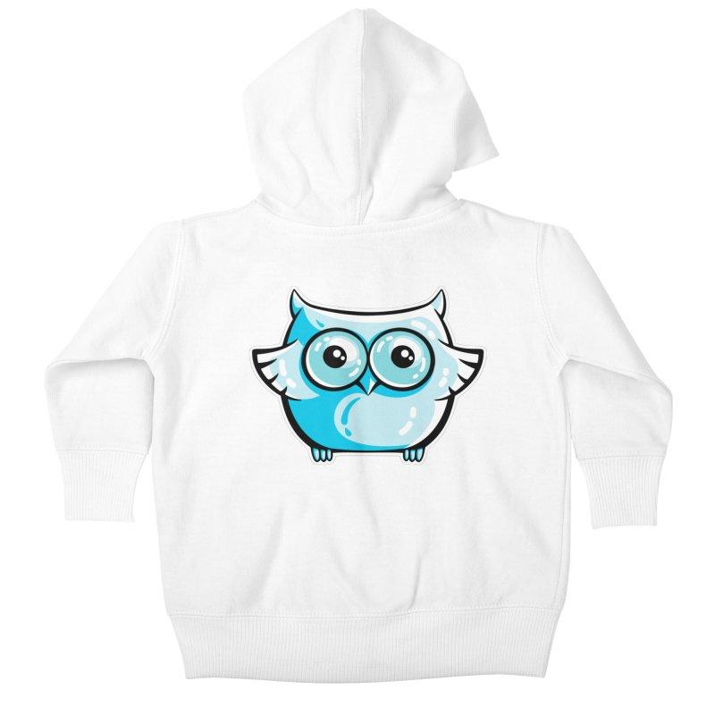 Blue Cute Owl Kids Baby Zip-Up Hoody by Flaming Imp's Artist Shop