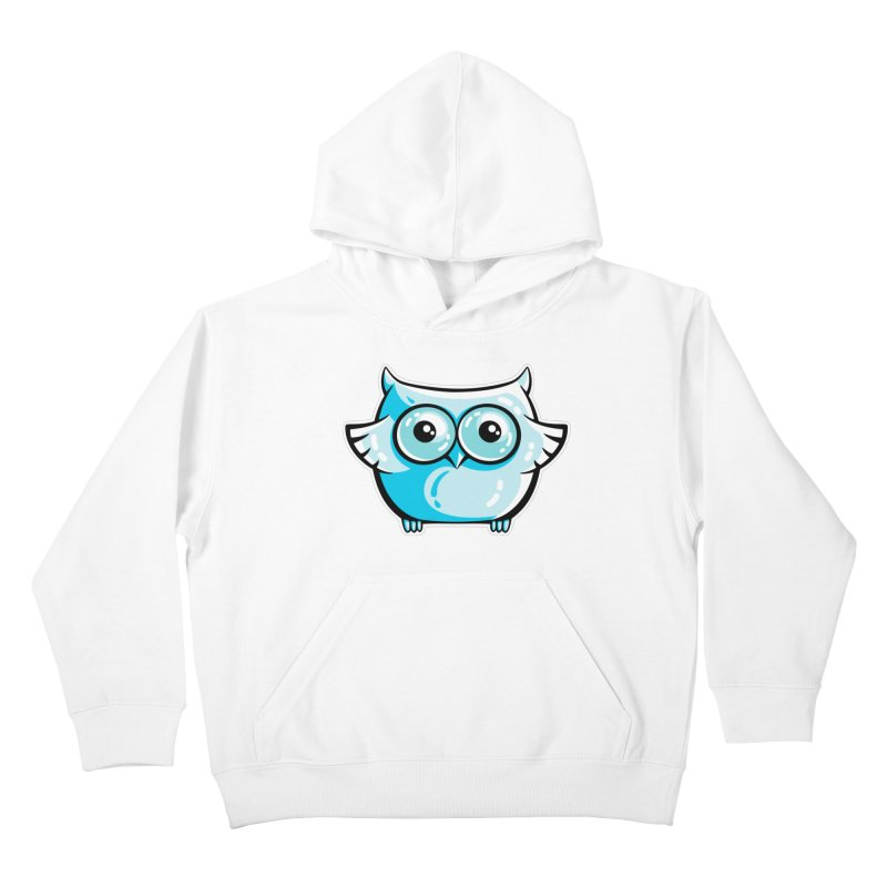 Blue Cute Owl Kids Pullover Hoody by Flaming Imp's Artist Shop