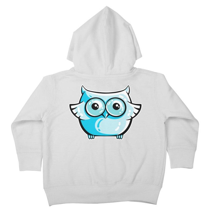 Blue Cute Owl Kids Toddler Zip-Up Hoody by Flaming Imp's Artist Shop