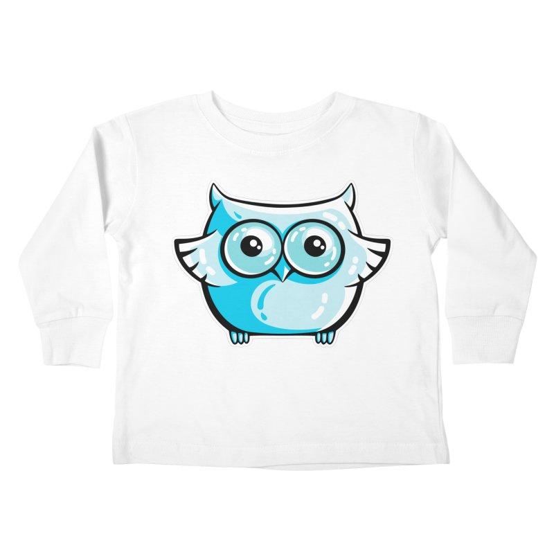 Blue Cute Owl Kids Toddler Longsleeve T-Shirt by Flaming Imp's Artist Shop