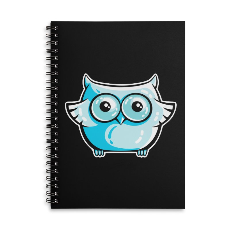 Blue Cute Owl Accessories Lined Spiral Notebook by Flaming Imp's Artist Shop