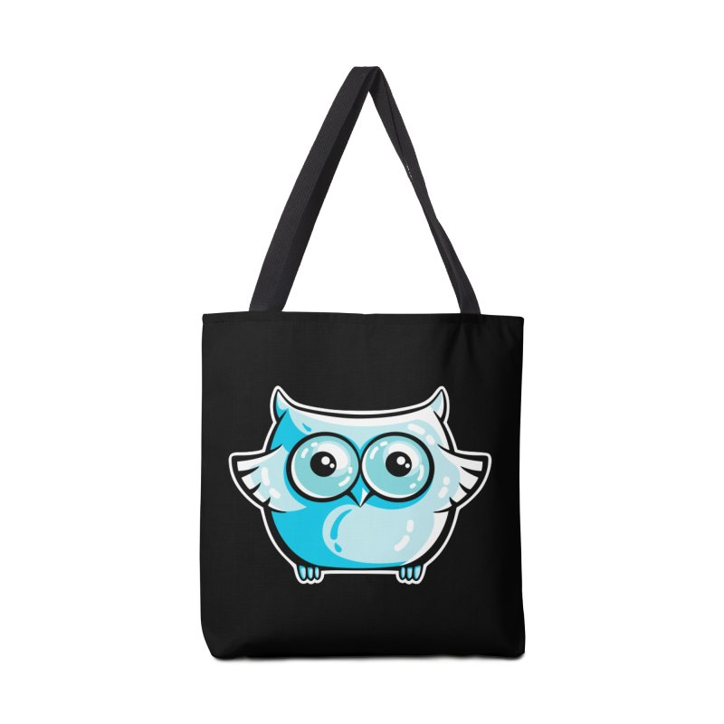 Blue Cute Owl Accessories Tote Bag Bag by Flaming Imp's Artist Shop