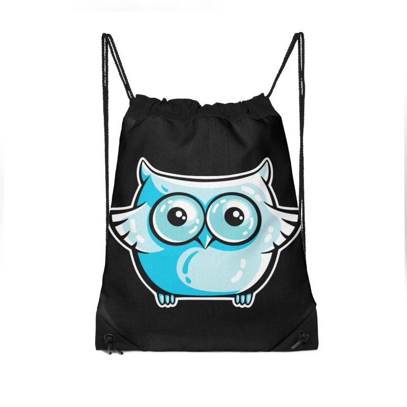 Blue Cute Owl Accessories Drawstring Bag Bag by Flaming Imp's Artist Shop