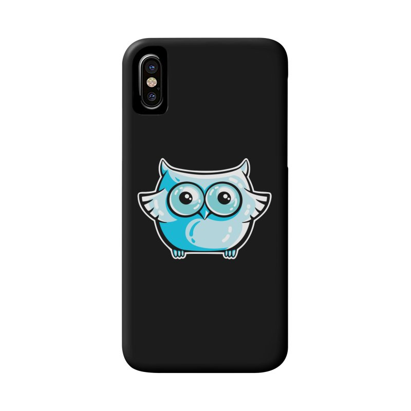 Blue Cute Owl Accessories Phone Case by Flaming Imp's Artist Shop