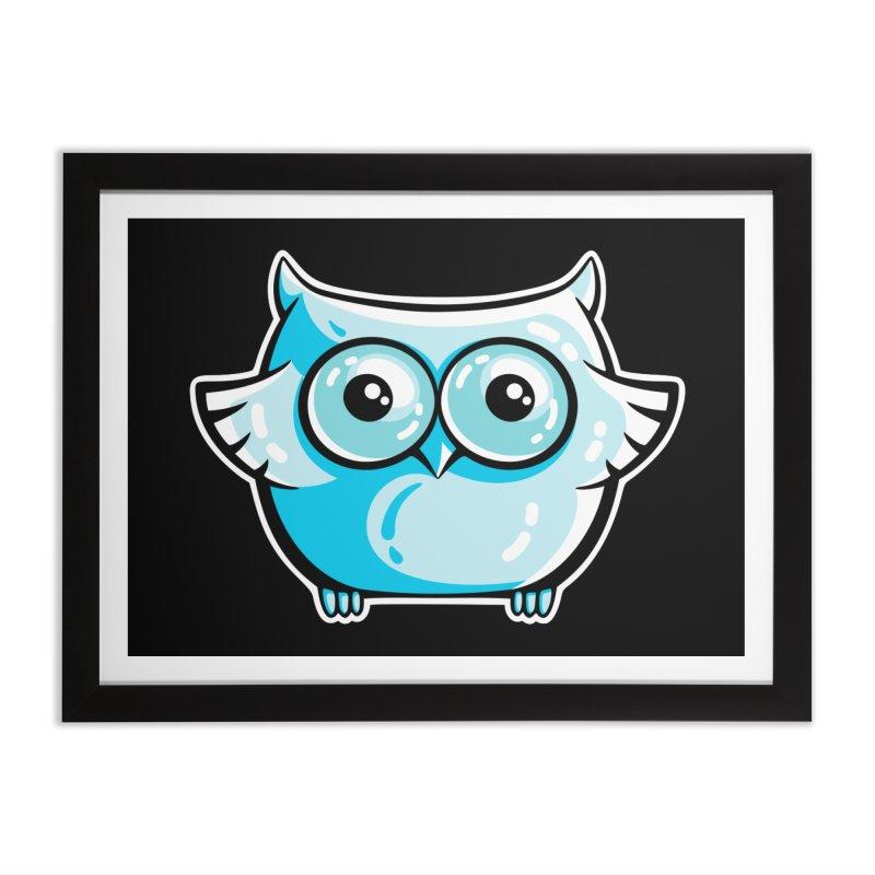 Blue Cute Owl Home Framed Fine Art Print by Flaming Imp's Artist Shop
