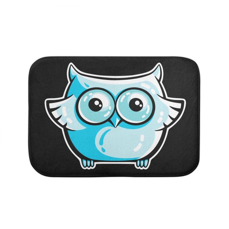 Blue Cute Owl Home Bath Mat by Flaming Imp's Artist Shop