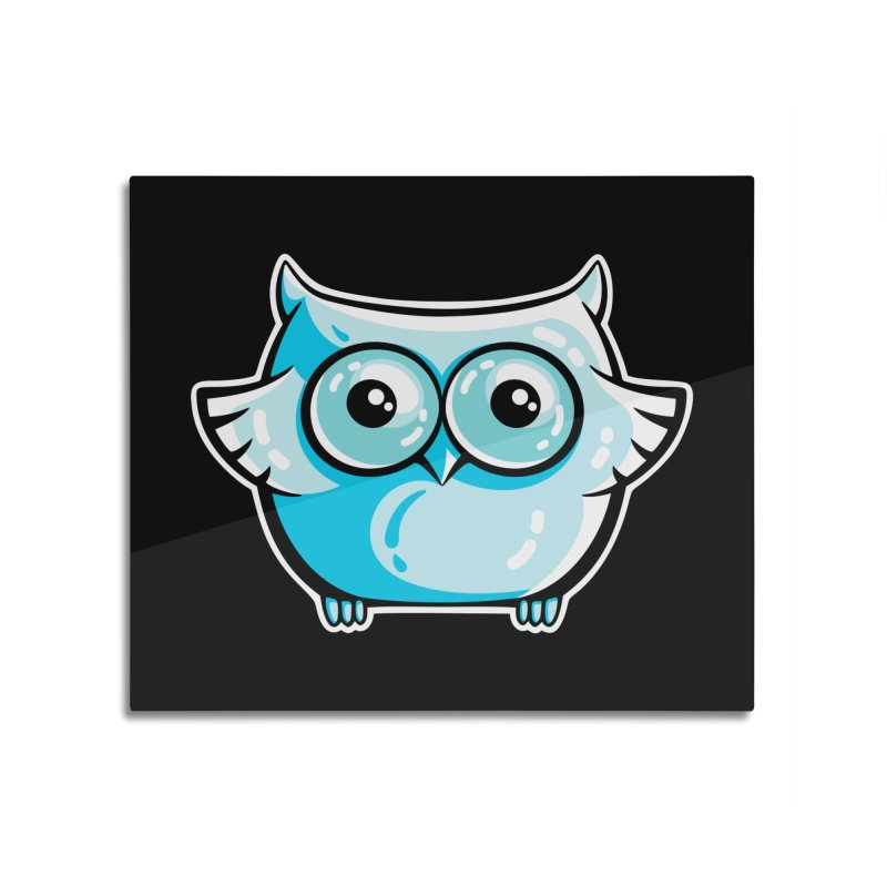 Blue Cute Owl Home Mounted Aluminum Print by Flaming Imp's Artist Shop