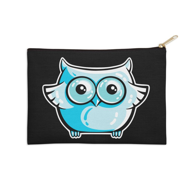 Blue Cute Owl Accessories Zip Pouch by Flaming Imp's Artist Shop