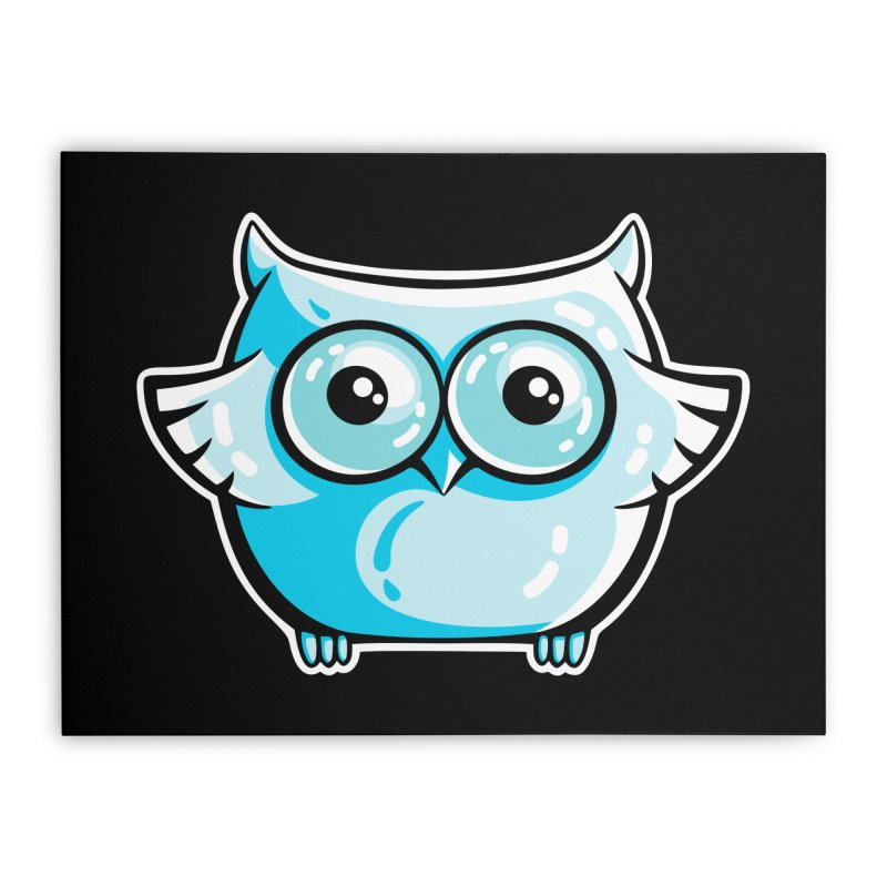Blue Cute Owl Home Stretched Canvas by Flaming Imp's Artist Shop