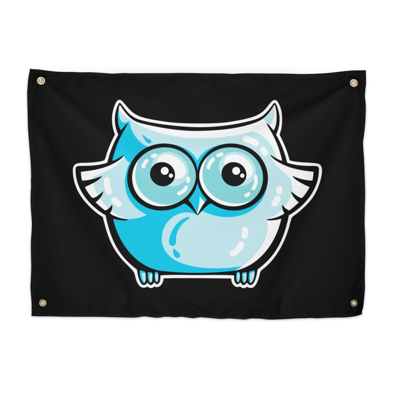 Blue Cute Owl Home Tapestry by Flaming Imp's Artist Shop