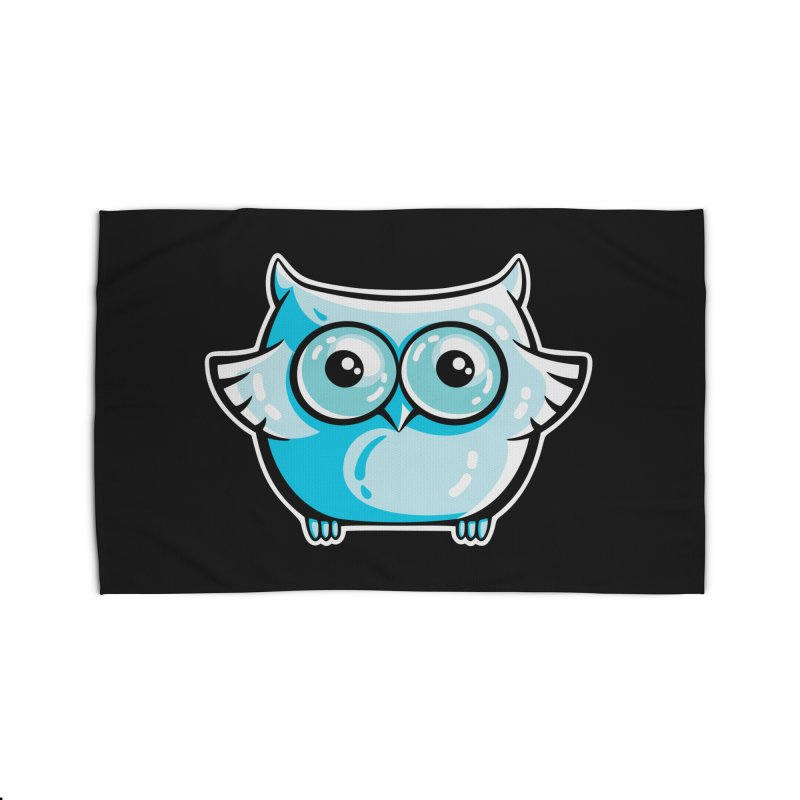 Blue Cute Owl Home Rug by Flaming Imp's Artist Shop