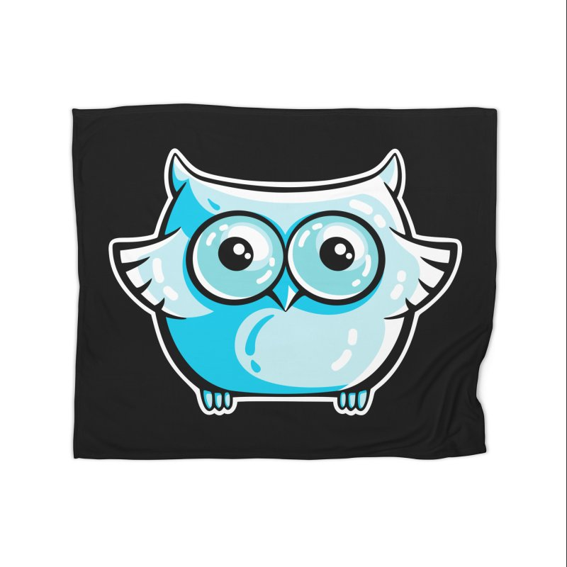 Blue Cute Owl Home Fleece Blanket Blanket by Flaming Imp's Artist Shop