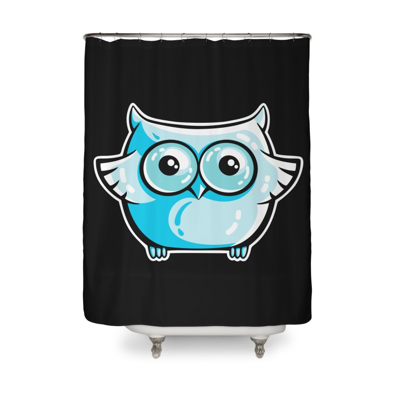 Blue Cute Owl Home Shower Curtain by Flaming Imp's Artist Shop