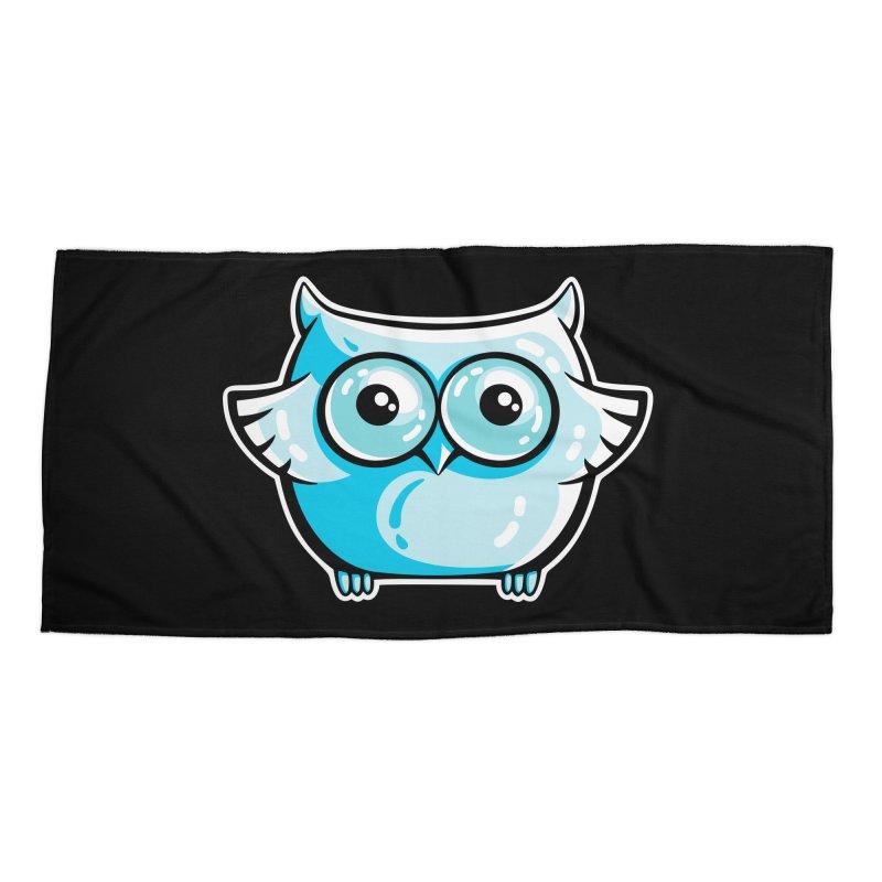 Blue Cute Owl Accessories Beach Towel by Flaming Imp's Artist Shop