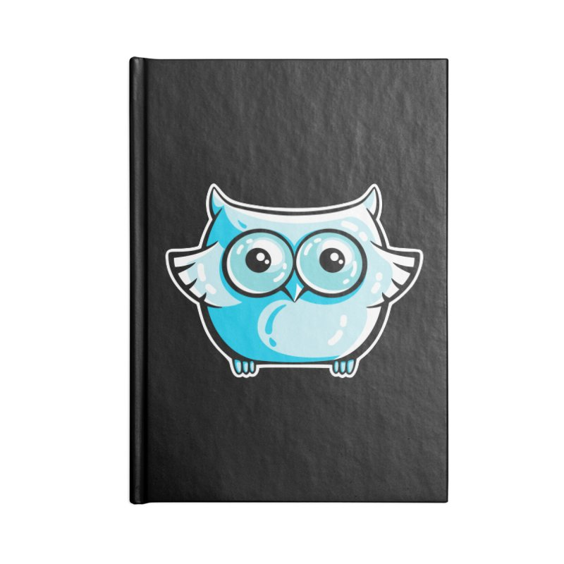 Blue Cute Owl Accessories Blank Journal Notebook by Flaming Imp's Artist Shop