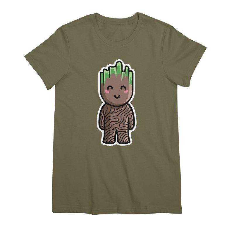 Kawaii Cute Baby Groot Women's Premium T-Shirt by Flaming Imp's Artist Shop