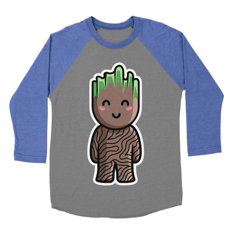 Kawaii Cute Baby Groot Men's Baseball Triblend Longsleeve T-Shirt by Flaming Imp's Artist Shop