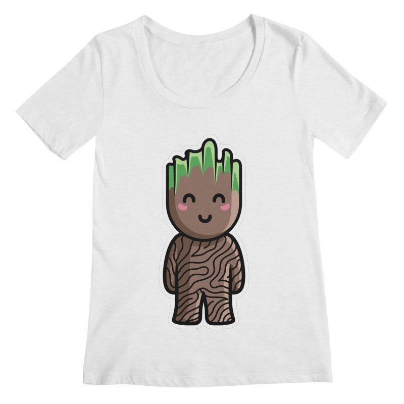Kawaii Cute Baby Groot Women's Regular Scoop Neck by Flaming Imp's Artist Shop