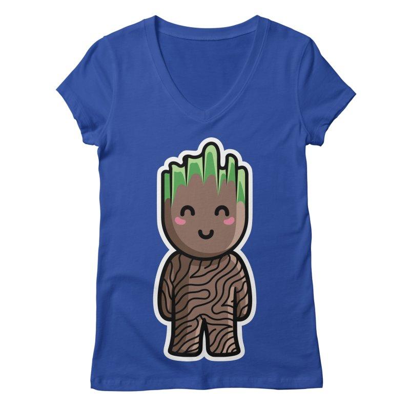 Kawaii Cute Baby Groot Women's Regular V-Neck by Flaming Imp's Artist Shop