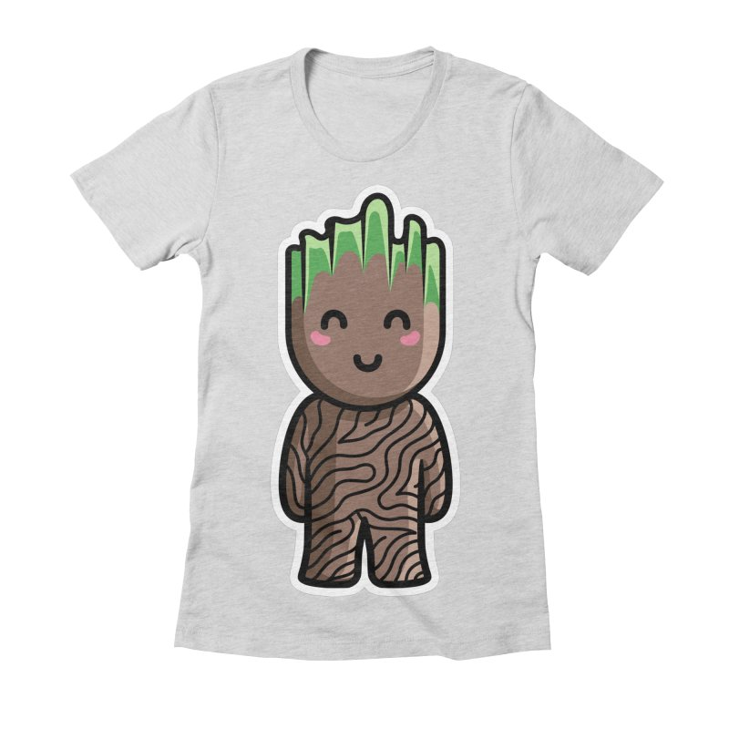Kawaii Cute Baby Groot Women's Fitted T-Shirt by Flaming Imp's Artist Shop