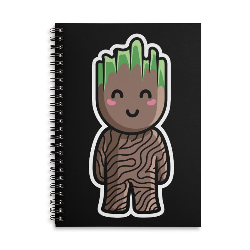 Kawaii Cute Baby Groot Accessories Lined Spiral Notebook by Flaming Imp's Artist Shop