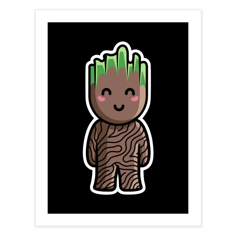 Kawaii Cute Baby Groot Home Fine Art Print by Flaming Imp's Artist Shop