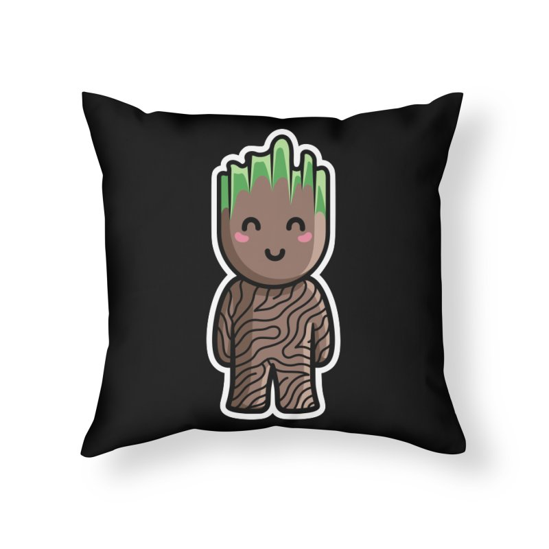 Kawaii Cute Baby Groot Home Throw Pillow by Flaming Imp's Artist Shop