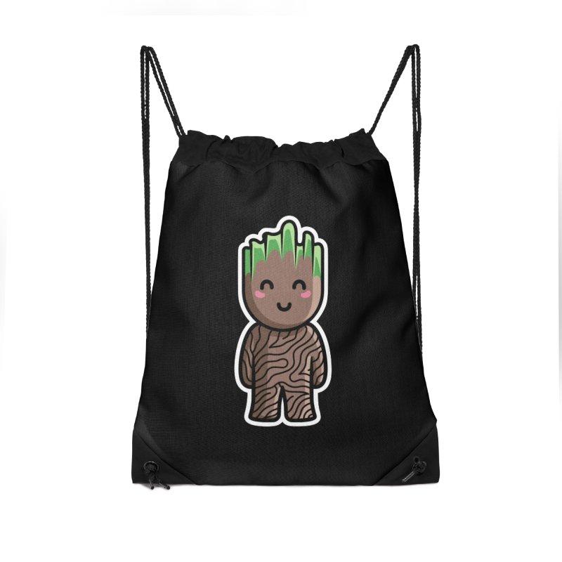 Kawaii Cute Baby Groot Accessories Drawstring Bag Bag by Flaming Imp's Artist Shop