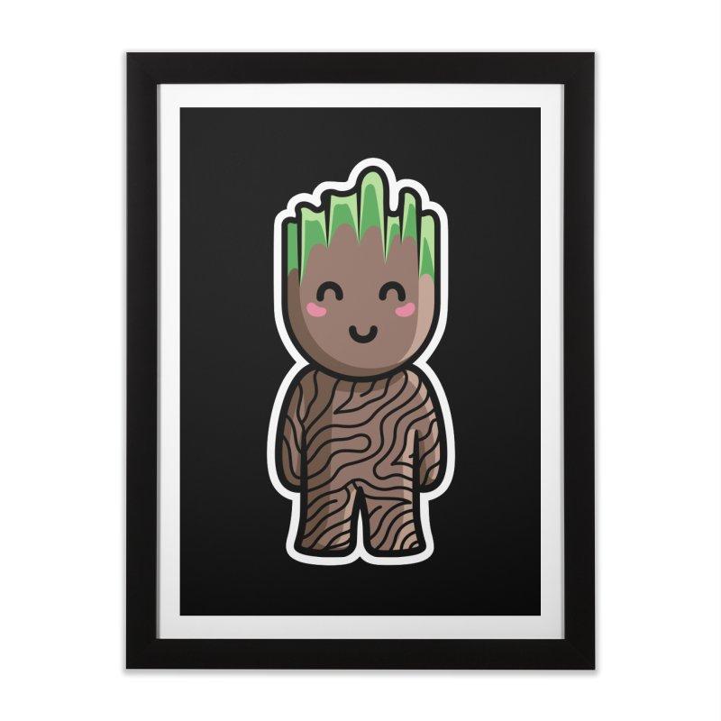 Kawaii Cute Baby Groot Home Framed Fine Art Print by Flaming Imp's Artist Shop