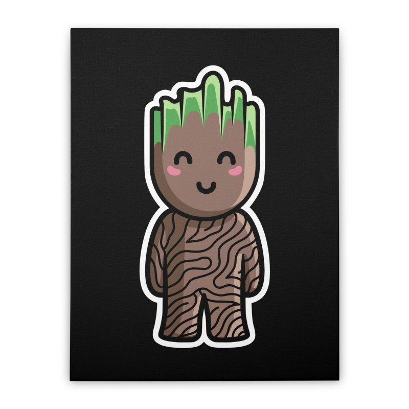 Kawaii Cute Baby Groot Home Stretched Canvas by Flaming Imp's Artist Shop