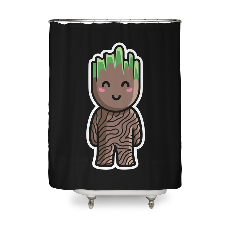 Kawaii Cute Baby Groot Home Shower Curtain by Flaming Imp's Artist Shop