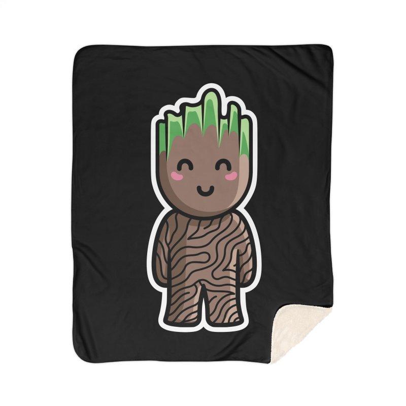 Kawaii Cute Baby Groot Home Sherpa Blanket Blanket by Flaming Imp's Artist Shop