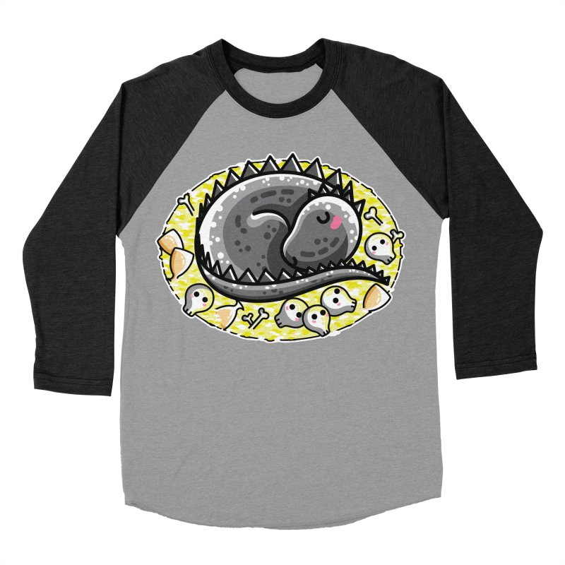 Cute Dragon Asleep on its Hoard Men's Baseball Triblend Longsleeve T-Shirt by Flaming Imp's Artist Shop