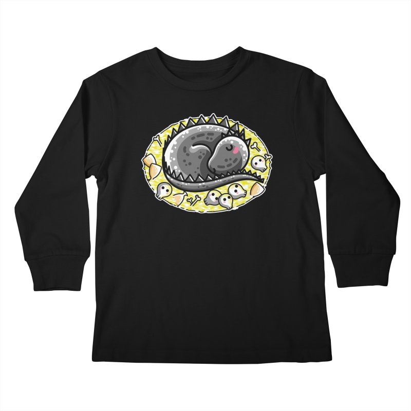 Cute Dragon Asleep on its Hoard Kids Longsleeve T-Shirt by Flaming Imp's Artist Shop