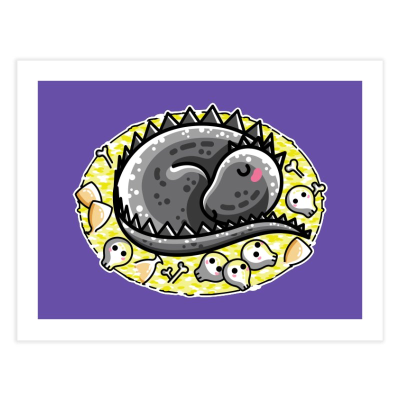 Cute Dragon Asleep on its Hoard Home Fine Art Print by Flaming Imp's Artist Shop