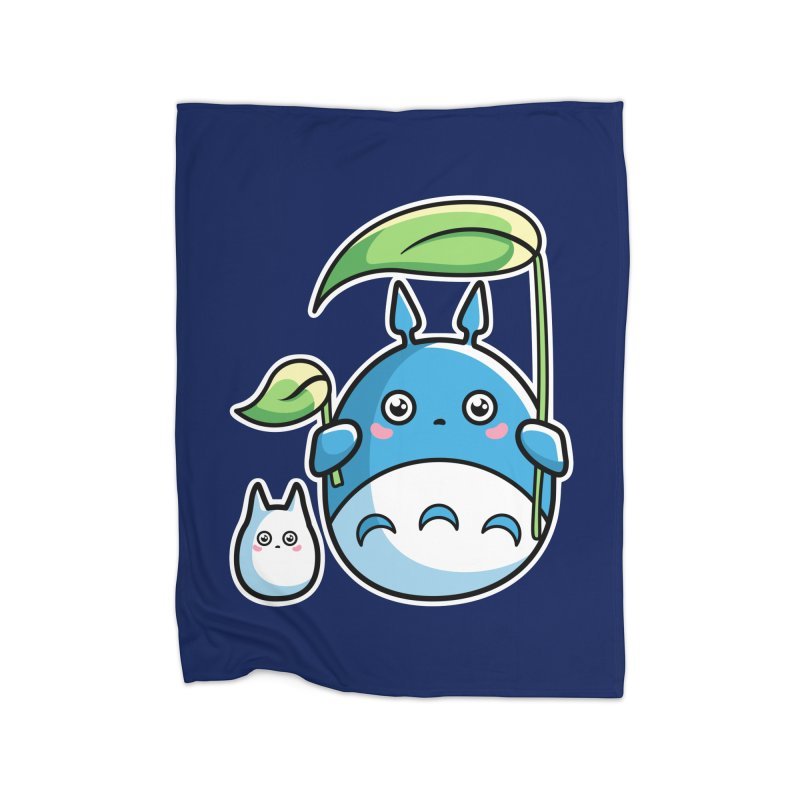 Kawaii Cute Zuku and Mini Home Fleece Blanket Blanket by Flaming Imp's Artist Shop