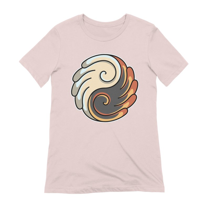 Yin Yang Angel and Demon Wings Women's Extra Soft T-Shirt by Flaming Imp's Artist Shop