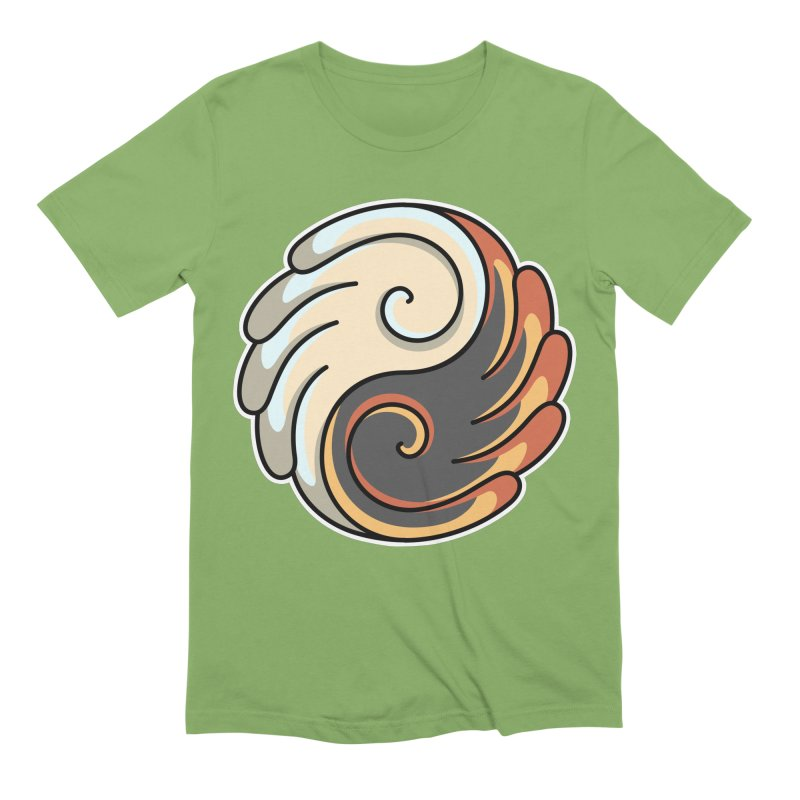 Yin Yang Angel and Demon Wings Men's Extra Soft T-Shirt by Flaming Imp's Artist Shop