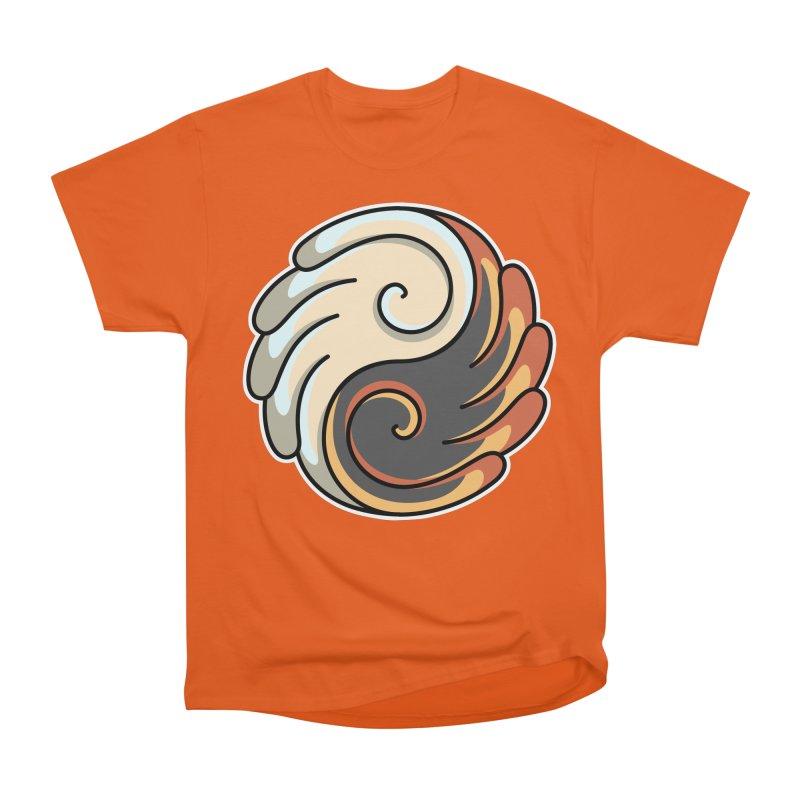 Yin Yang Angel and Demon Wings Men's Heavyweight T-Shirt by Flaming Imp's Artist Shop