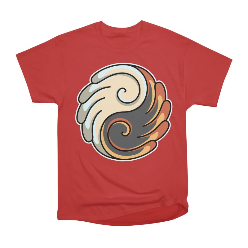 Yin Yang Angel and Demon Wings Women's Heavyweight Unisex T-Shirt by Flaming Imp's Artist Shop