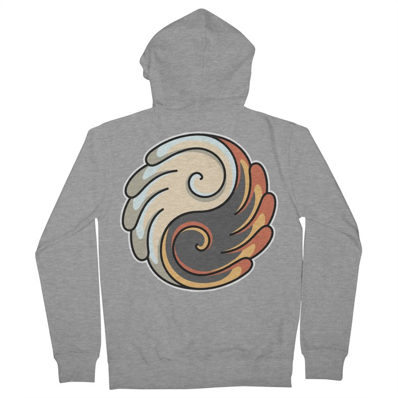 Yin Yang Angel and Demon Wings Men's French Terry Zip-Up Hoody by Flaming Imp's Artist Shop