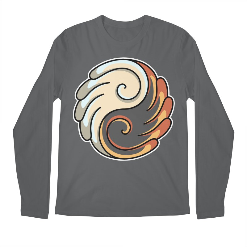 Yin Yang Angel and Demon Wings Men's Regular Longsleeve T-Shirt by Flaming Imp's Artist Shop